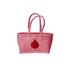 Medium Pink Kids Raffia Shopping Basket By Rice DK